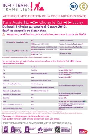 Info Trafic - Paris Austerlitz - Juvisy