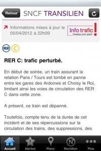 Capture d'écran alerte SNCF Transilien