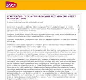 Compte rendu du Tchat des Jeudis de la Ligne C de novembre
