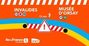 2018年12月9日起,每逢周末、节假日,Invalides和Musée d'Orsay两站之间的所有C线路列车停运。